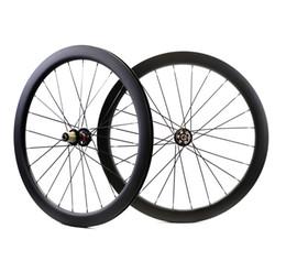 ruedas de ciclocross Rebajas 700C 50 mm de profundidad disco de freno de disco de carretera juego de ruedas de carbono 25 mm de ancho Cubierta / disco tubular Bicicleta de ciclocross ruedas de carbono UD finsh mate