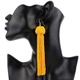 Wholesale Wholesale Silk Thread - Ethnic Vintage Yellow Long Tassel Drop Earrings Maxi 2017 New Green Silk Thread Vintage Red Ball Earrings For Women Fashion Jewelry Gift