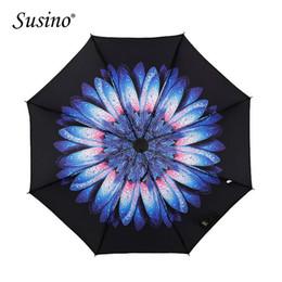 Wholesale Uv Sun Protection Umbrella - Susino Umbrella Black Coating UV Protection Sun Adult Women Umbrella 3 Folding Windproof Waterproof