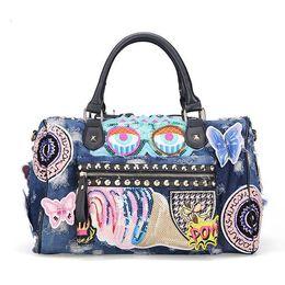 Wholesale Demin Top - Rock Style Fashion Totes Women Denim Handbags Casual Shoulder Bags Vintage Demin Blue Top Handle Bags Bolsa Large Travel