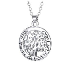 Wholesale Vintage Jewelry Christmas Tree - Vintage Silver Mom You Are The Heart Of Our Family Tree of Life Necklace Statement Chain wax line leather Necklace Pendant For Women Jewelry