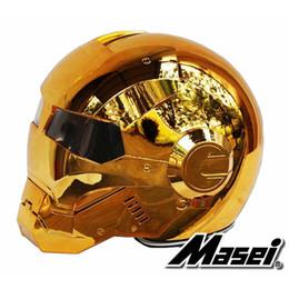 bronze galvanisieren Rabatt MASEI 610 galvanisieren Bronzeüberzug Goldchrom IRONMAN Iron Man Helm Motorradhelm halbgeöffneter Helm ABS Motocross