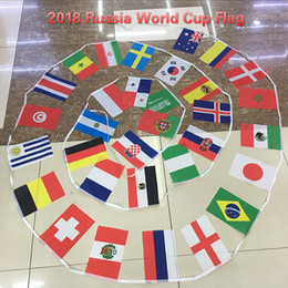 Wholesale Flags Cup - 2018 Russia World Cup Flag 2018 Football Cup 32 Country Strings Flags 14*21cm Banner Bar decoration Indoor outdoor Hanging flags Free Ship