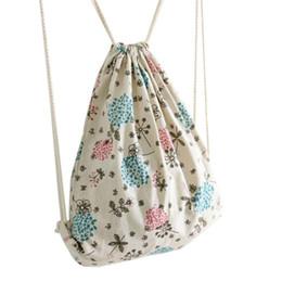 e5848a00a209 Wholesale- Naivety 2016 New Women Flower Prints Drawstring Tote Bag  Beautiful Backpack Bag S6095 drop shipping