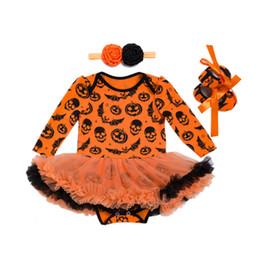 Bebê recém-nascido cosplay on-line-Primavera Criança Recém-nascidos Infantil Roupas de Bebê Menina Crânio Imagem Romper Macacão Outfits Cosplay Halloween Traje Do Bebê Conjuntos