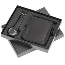 Seta relógios on-line-Moda masculina relógio de pulso de quartzo combinação hasp carteira redemoinho seta projeto para namorado pai para presentes de natal conjunto
