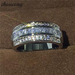 Relleno caliente online-Venta caliente joyería anillo masculino anillo de la venda de boda del compromiso del oro blanco del diamante de 3 mm lleno para los hombres tamaño 5-11