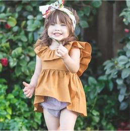 Chaleco amarillo del vestido del color del niño online-Niñas bebés camisa de vestir Ins Toddler kids falbala collar chaleco vestidos de verano Infants irregular dobladillo vestido niñas amarillo vestido plisado A08