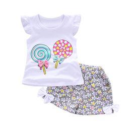 Wholesale Lollipops Costumes - 2PCS set Little Girls Clothes Sleeveless Tops Lovely Lollipop Bowknot Shirt+Shorts Summer Clothing Sets Kids Comfortable Costume