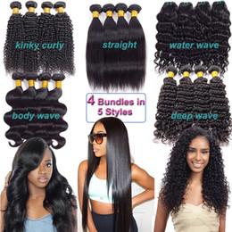 Wholesale Mongolian Kinky Curly Hair 4pcs - Brazilian Virgin Hair Bundles 4pcs Human Hair Kinky Curly Straight Body Water Deep Wave 8A Peruvian Malaysian Indian Virgin Hair Extensions
