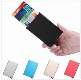 Wholesale automatic wallet - 6 Colors Metal Credit Card Holder Automatic Card Sets Business Aluminum Wallet Card Sets Wallet Passport Holder Bags CCA9051 200pcs
