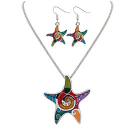 Wholesale Cheap Starfish - Vintage Jewelry Sweet Starfish Necklaces And Earring Set,Cheap Fashion Costume Jewelry Necklace Sets For Girls Kids drop ship 161918