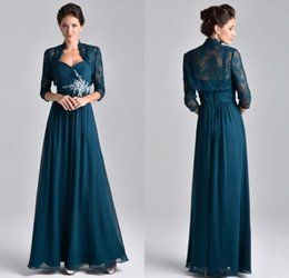 long teal evening dresses Coupons - Newest 2019 Vintage Teal Blue Chiffon Mother Dresses With Sleeves Lace Jacket Spaghetti Beads Ruched Long Formal Evening Gowns