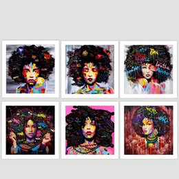 2019 ragazza dipinge tele Africa Girl Pattern Dipinti su tela Pure Dipinto a mano Spray Painting Astratto Wall Art Hanging Picture Living Room Decor 14xs4 jj sconti ragazza dipinge tele