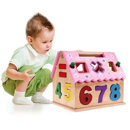 Puzzles de madera para niños pequeños online-Nuevos niños Ladrillos Juguetes Clasificación de forma Tablero del rompecabezas Casa inteligente Apilamiento geométrico geométrico Bebé Niño Juguetes educativos de madera para niños