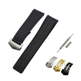 Wholesale Tools Hid - 24mm Black Diver Silicone Rubber Sports Watch Band Strap Tire Pattern Anti-sweat with Stainless Steel Buckle for Formula One Series+tools