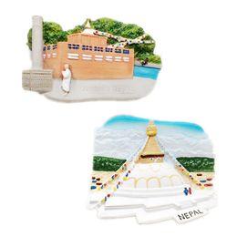 Wholesale Handmade Decoration Pieces - Nepal Fridge Magnets Travel Tourist Souvenir Handmade Resin Lumbini Refrigerator Magnetic Stickers Home Decoration