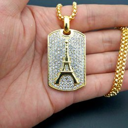 Wholesale Gold Eiffel Tower Charms - Fashion Eiffel Tower Pendant Necklace For Men Women 18K Gold Plated Ice Out Chains Hiphop Zircon Necklace Hip Hop Jewelry