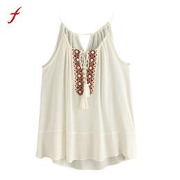 37007b95b Feitong Boho Été Femmes Débardeurs 2018 Mode Lâche Sans Manche Mitre Brodé  Gland Casual Crop Tops Vest blusa cropped promotion