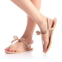 Wholesale Wholesale Flip Flops Buckle - Wholesale-Easy and Comfortable Flat Sandals Sweet Bow T-belt Summer Shoes Women's Fashion Flip Flops 2015