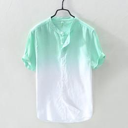Camisa azul de cuello mandarín online-Camisa de lino de manga corta de color verde degradado para hombre Camisas de verano casual de color azul anaranjado para hombres Camisa de color rojo mandarín para hombre