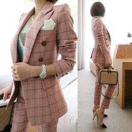 casaco de trabalho bege Desconto Escritório de trabalho Calças e Jaquetas 2 Peças Mulheres Blazer Terno 2018 Outono Vintage pinkPlaid Ternos Formais de Negócios Para As Mulheres