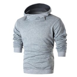 Wholesale Hat Tee - Spring and Autumn models Solid color Men's Long Sleeve Patchwork Hoodie Hooded SweaterTop Tee Outwear Blouse sudaderas hombre#AA
