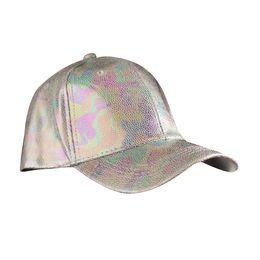 Повседневная корейская шапка онлайн-2018 New Silver Laser Korean Style Baseball Caps PU leather Hip Hop Punk Hats Snapback Costume Accessories Fashion Casual Hat