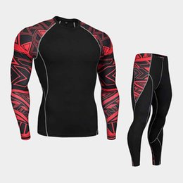 Wholesale Thermal Warm Tights - Fitness suit long-sleeved tights men's quick training sports stretch running fitness clothes Warm sportswear, thermal underwear