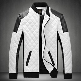 plus size pu motorcycle jacket Australia - New Brand Leather Jacket Mens Plus Size Winbreak Patchwork Black&White Pu Jacket Thin&Thick Warm Motorcycle Coats