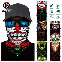 Wholesale Uv Headwear - 3D Seamless Skull Joker Clown Tube Neck Gaiter Warmer Scarf Face Mask Halloween Headband Headwear Bandana Sun UV Protection Mask
