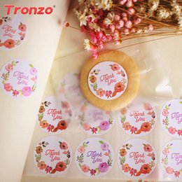 Wholesale Wedding Thank Stickers - Tronzo Thank You Lovely Paper Stickers Wedding Decoration 100pcs set Cookies Candy Bag Decor Party Supplies