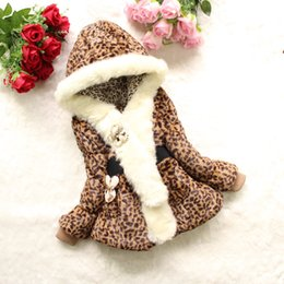 Wholesale girls faux leopard coat - little girl warm coat hooded leopard cotton thick faux fur collar coat for 2-4yrs baby girl kids children outerwear clothes