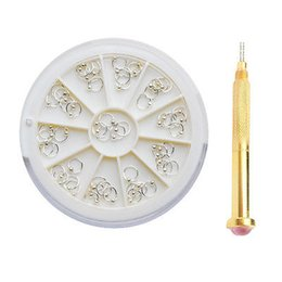 Canada 55pcs / box 3mm ongles dangle argent perlé anneau stud et outil de pointillage ensemble pour acrylique UV gel ongles # 12748 Offre
