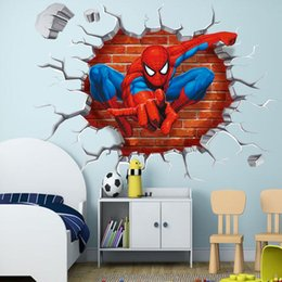 Wholesale Spiderman For Kids - 45*50cm 3D Hole Famous Cartoon Movie Spiderman Wall Stickers For Kids Rooms Boys Gifts Through Wall Decals Free Shipping