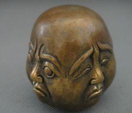Visage sculpté antique en Ligne-Sculpture à collectionner 4 visage humeur Bouddha en cuivre statue plaisir colère colère chagrin heureux