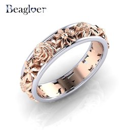 розовые цветочные кольца Скидка Beagloer Tendy Rose Gold Flower Ring Wedding Rings For Women Engagement Ring Jewelry Gift Zircon Jewelry Anillos Mujer