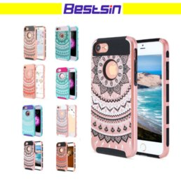 Wholesale Hybrid Flower Case - Flower Pattern Hybrid 2 IN 1 PC+TPU Armor ShockProof Cell Phone Case For Iphone 8 Samsung S8 Free DHL Shipping