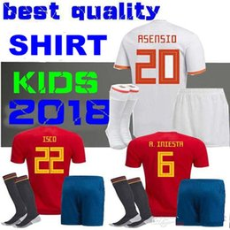117efc4ce KIDS KIT 2018 Spain Soccer Jersey PIQUE A.INIESTA MORATA THIAGO RAMOS  ASENSIO Spain World Cup Uniform Youth Child Football Shirts