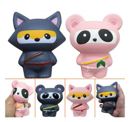 Wholesale Kawaii Panda - Squishy Ninja Panda Fox Pink Gray the Simulation Animal PU Slow rebound Jumbo kawaii pendant Staps Charm decompression Squishies toys gifts