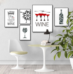 cup paintings Coupons - Nordic Style Wine Bottle Cup Picture On Canvas Minimalist Wall Art Living Room Decoration Painting unframed Poster