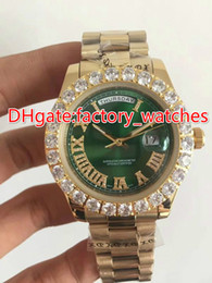 Wholesale mens watch sets - Prong set diamonds bezel watch automatic mens luxury gold 42mm case green dial Roman markers date AAA Gold Big diamond watches