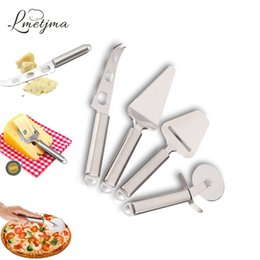 Wholesale Pizza Set - LMETJMA 4pcs set Cheese Tools Set Stainless Steel Cheese Slicer Cheese Knife Pizza Wheel Cutter Pizza Shovel KC0324-5