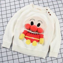 Wholesale cartoon characters sweaters - 2018 Hot sell new style Plush thickening pullover Cartoon handwork Bread Superman sweater high quality cotton spring autumn knitted sweater