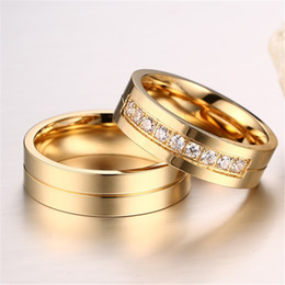 Wholesale gold promise rings for couples - CZ Diamond Cubic Zirconia Couple Rings For Men Women Stainless Steel Fashion Jewelry Promise Rings 18K Gold Plated Party Gift CR-054