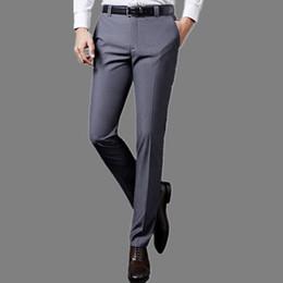 Wholesale Wedding Dress Trousers - Luxury Mens Suit Pants Fashion Dress Pants Formal Business Male Casual Long Trousers Slim Fit Male Wedding Dress Mens Suit