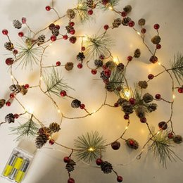 star lights window Coupons - Red berry Christmas Garland Lights LED Copper Fairy lights Pinecone string lights for Christmas tree Holiday Home Party Window Decoration