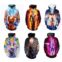 Wholesale Dragon Ball Hoodie - Mens womens 3D Hoodies 13styles 2018 Newest Anime Dragon Ball Z Super Saiyan Hooded Sweatshirts Goku Vegeta Majin Buu 3D Pullovers