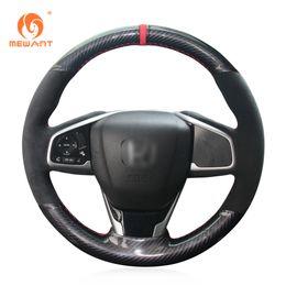 Wholesale Honda Crv Car Cover - MEWANT Black Suede Black PU Carbon Fiber Car Steering Wheel Cover for Honda Civic Civic 10 2016 2017 CRV CR-V 2017