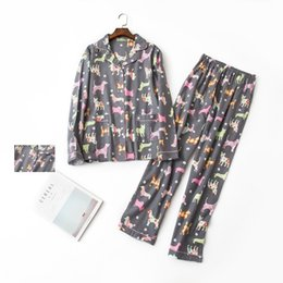 9cefad2aea Chinese 2018 Gray Pajama Sets Women Brushed Cotton Cute Dachshund Dog Print  2 Pieces Set Long